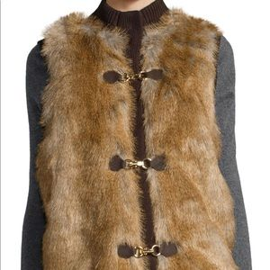 Michael Kors knit sweater vest with Faux Fur front